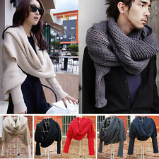 Stylish Women Men's Scarf With Sleeve Crochet Knit Long Soft Wrap Shawl Scarves