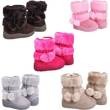 Girl Toddler Suede Infant Winter Snow Warm Kid Shoes Baby Fur Boots Zip Up 4-8