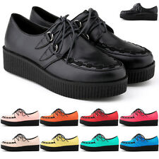 WOMEN'S FLAT WEDGE LACE UP CREEPERS SHOES PU LEATHER US SIZE 4 5 6 7 8 9 10 11