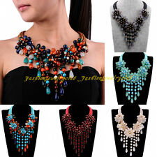 Fashion Multicolor Rope Resin Bead Chain Tassels Statement Bib Pendant Necklace