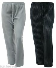 WOMENS NEW ELASTIC WAIST PINSTRIPE TROUSER PLUS SIZE 16 TO 26 BLACK GREY GREEN