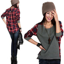 NEW Fashion Womens Lady Casual Charm Loose Long Sleeve Plaid T-shirt Blouse Top