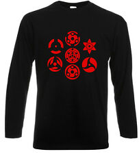The Power of Sharingan Uchiha Clan Naruto Long Sleeve Black T-Shirt Size S-3XL
