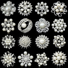 SILVER FLOWER BROOCH RHINESTONE DIAMANTE CRYSTAL WEDDING BROACH BRIDAL PARTY NEW