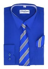 Boys Royal Blue Color Dress shirts with Tie set quality shirts by berlioni.