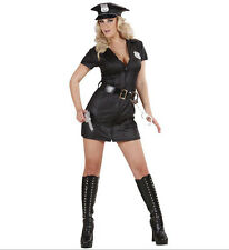POLICE WOMAN GIRL COSTUME OUTFIT COP BLACK S, M, L SIZES 8 - 16 DRESS