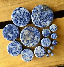 PAIR Blue Spot Jasper Organic Stone Plugs Gauges - up to 38mm available!