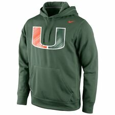 Miami Hurricanes MENS Sweatshirt Performance Pullover Hoodie Green by Nike