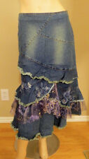 WEST 36TH FLORAL ROYAL LACE MESH GLITTER BEADS BLUE DENIM JEANS BOHO SKIRT 9004