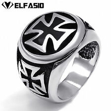 MEN's Silver IRON CROSS 316L Stainless Steel Biker Ring