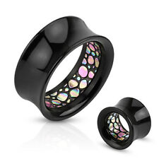 PAIR Inner Abalone-Look Pattern Inlaid Black Acrylic Saddle Tunnels Plugs Gauges