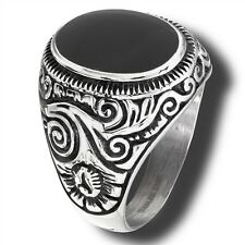 Men's Prominent Stainless Steel Ring Synthetic Onyx or Turquoise Size 8-15