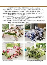 New REVERSIBLE 100% Cotton 4PCS Duvet Cover Set KING QUEEN DOUBLE TWIN AVAILABLE