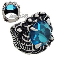 Men's Silver Dragon Claw Blue CZ 316L Stainless Steel Biker Ring