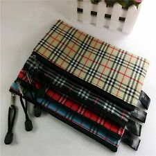 1x Striped Plaid Zipper Pouch Office School Stationery Bags Cosmetic Storage Bag