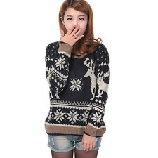 Pullover Christmas Geometry Deer Knitted Winter Sweater Top Cardigan Jacket Coat