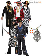Adult Mens 70s Pimp Gangster Big Daddy With Dollar Medallion Fancy Dress Costume