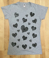 New Womens Black Love Heart Floral Print T-Shirt Womens Short Sleeve Cotton Grey