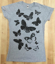 New Womens Black Butterfly Floral Print T-Shirt Womens Short Sleeve Cotton Grey
