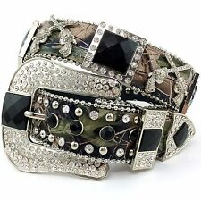 Mossy Oak Camo Croc Leather Cowgirl Western Black Square Cross Gun Concho Belt