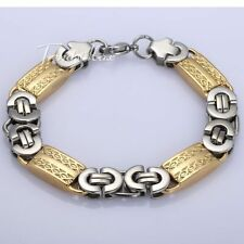 6/8/11mm Mens Chain Silver Gold Flat Byzantine Stainless Steel Bracelet 7-11inch