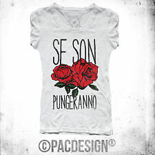 T SHIRT DONNA SE SON ROSE PUNGERANNO FRASI IRONIC WHY SO MY HAPPINESS DK0291A W
