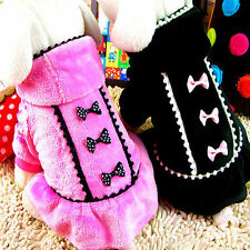 Fashion Pet Dress Dog Winter Skirt Clothes Puppy Cat Apparel Coat Pink Black
