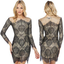 Sexy Women's Vintage Long Sleeve Lace Bodycon Stretch Cocktail Tunic Mini Dress