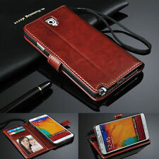 Genuine Real Leather Photo Flip Wallet Case Cover For Samsung Galaxy S5 i9600