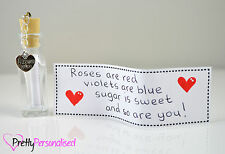 Valentines Day Personalized Message In a Bottle Romantic Present Gift For Her