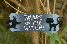 Halloween Wooden Wall Plaque Sign Party Decoration Accessory Witch Black Cat Bat
