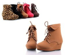 5 Color Fashion Pumps Lace Up Girls Wedge Heels Kids Ankle Boots Youth Shoes