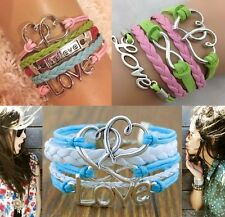 Believe Love Heart Braided Leather Bracelet *UK SELLER*