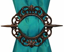 SET OF 2 DECORATIVE CURTAIN HOLDBACKS WINDOW CURTAIN TIEBACKS, ANTIQUE, MAHOGANY