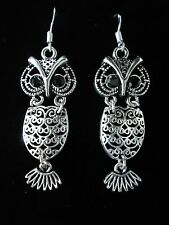 JOINTED OWL STERLING SILVER EARRINGS OR A GIFT SET WITH A STERLING SILVER CHAIN.