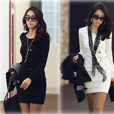 Graceful Women OL Style Korean Solid Long-Sleeve Shirt Slimming Mini Dress B383