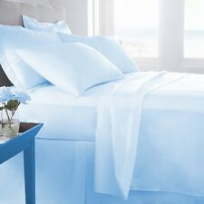 100% EGYPTIAN COTTON ALL BEDDING ITEMS SKY BLUE SOLID CHOOSE SIZE&SET