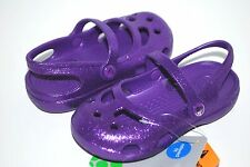 NEW NWT CROCS SHAYNA HI GLITTER mary janes 4 5 6 7 8 9 12 kids shoes NEON PURPLE