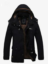 Men's Warm Jackets Parka Outerwear Fur lined Winter thicken Long Coat Hooded