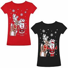 Ladies Womens Christmas Xmas T-Shirt Rudolph Reindeer Santa Novelty Print Top