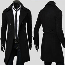 FREE P&P   Celebrity 2015 Double Breasted Peacoat Men's Mature Long Coat Jackets