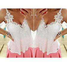Women Sexy Lace Stitching V Neck Sleevless Chiffon T-Shirt Casual Blouse Tops