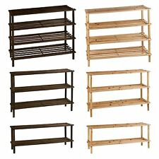 2 3 4 Tier Wooden Wood Slatted Shoe Rack Organiser Storage Stand Shelf Boot Unit