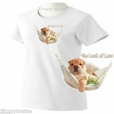 Shar Pei Puppy Dog In Hammock The Look Of Love Ladies Classic Fit White T Shirt