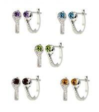 Sterling Silver 925 Gemstone and Lab-Created White Sapphire Hoop Earrings