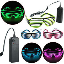 Cool Special Shutter Light Up EL Wire Glow Shades Party Bar Eye-wear Glasses USA