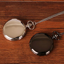 Black/Silver Smooth Face Pocket Watch Quartz Necklace Pendent Chain Xmas Gift