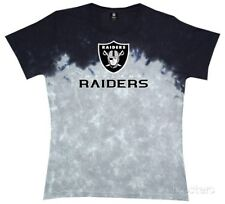 NWT NFL Liquid Blue Juniors Oakland Raiders Banded Tie Dye Logo Tee: S - XL