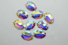 Acrylic beads Oval AB Faceted Sew On Flat Back Jewels