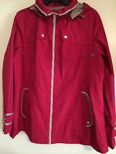 Susan Graver Zip Front Jacket with Hood and Contrast Trim Red